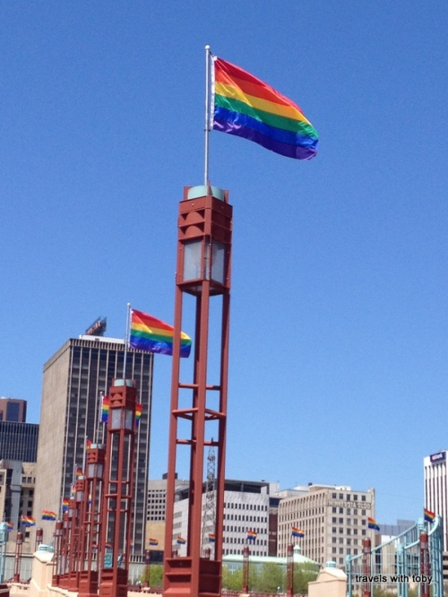 freedom to marry-Wabasha Street bridge decorated in rainbow flags