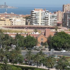 Looking down from the Alcazaba in Málaga: the bull ring