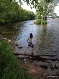 Miss M wanders into the river