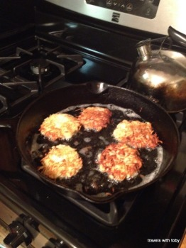 crunchy, crunchy, oh yum-latkes for our Hanukah meal