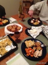 bad pic of our table - chicken's on the right under the foil