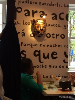 interesting things on the wall including words in Spanish