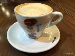 the most expensive cafe con leche! Note: don't take a break near Sagrada Familia. Pretty cup though.