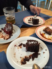 eating cakes with lady of the cakes. stupidly, I forgot to take a photo before we started eating.