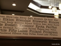 Minnesota city names above the booths. I was surprised to learn there is an Elgin, MN! I was born in Elgin, IL.