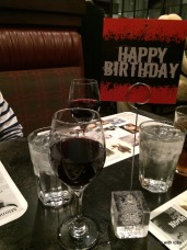 "the ""happy birthday"" doodad with my free glass of wine"