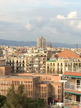 you can see Sagrada Familia from atop Las Arenas