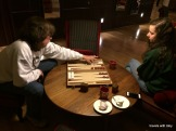 backgammon in our hotel on a rainy night