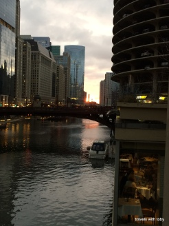 sunset over the Chicago River