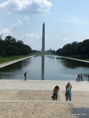 Washington monument in reflecting pond