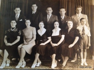 At 16 with her father's family