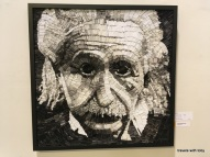 Albert Einstein made out of folded up magazine pages